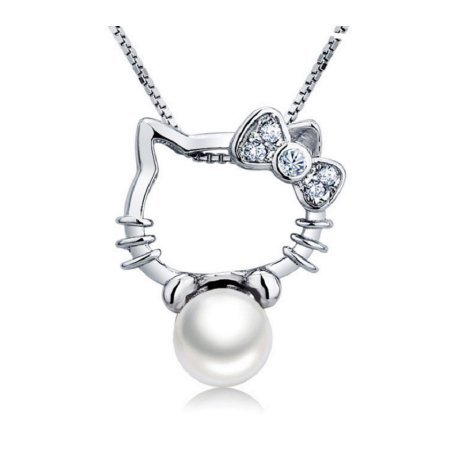 EZ Creations Cat Necklace Jewelry Hello Kitty Style Sterling Silver CZ Cultured Freshwater Pearl Adjustable Chain (White) by EZ Creations (Image #7)