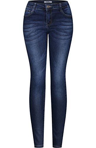 2LUV Women's Stretchy 5 Pocket Dark Denim Skinny Jeans Denim Medium (Back Skinny Jeans)