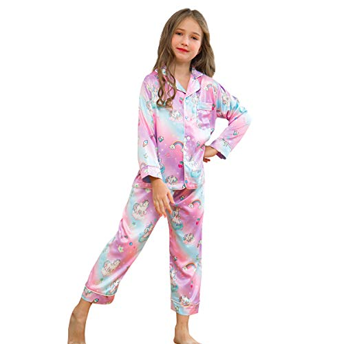 Unicorn Satin Robe Kids (Purple+Unicorn, 6-7Y)