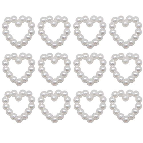 JETEHO 100 Pcs Small Acrylic Pearl Heart Flat Back Cabochons Imitation Love Heart Shape Embellishments for Craft Wedding ()