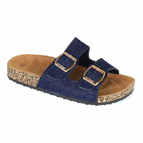 Buckle Denim - Women's Casual Buckle Straps Sandals Flip Flop Platform Footbed (7.5, Denim)
