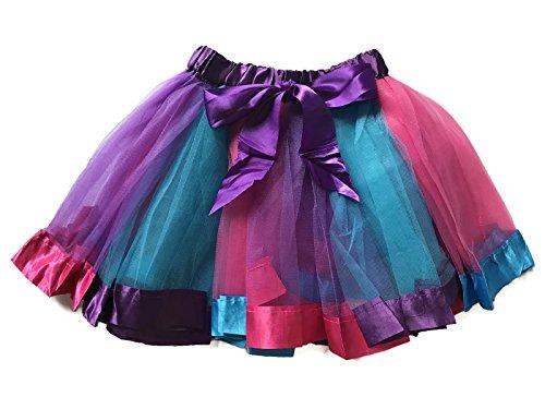 Rush Dance BIRTHDAY RAINBOW RIBBON BOW Ballerina Girls Dress-Up Princess Costume Tutu (Medium (2-4 Years), Purple, Turquoise & Hot (Baby Fluffy Bunny Costume)