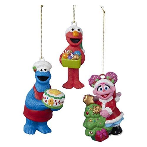 Sesame Street Character Set of 3-cookie Monster,elmo, Abby (Sesame Street Christmas Ornaments)