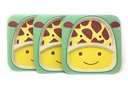 - Kids Plates - 3 Pack Eco Friendly Bamboo Plates - Divided & Stackable - Choice of Monkey, Elephant or Giraffe Pattern (Giraffe)