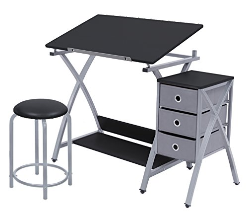 Offex Home Comet Center with Stool Silver / Black by Offex