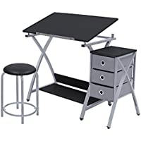 Offex Home Comet Center with Stool Silver / Black