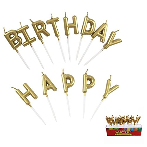 Eshanmu Birthday Letter Cake Candles, Gold