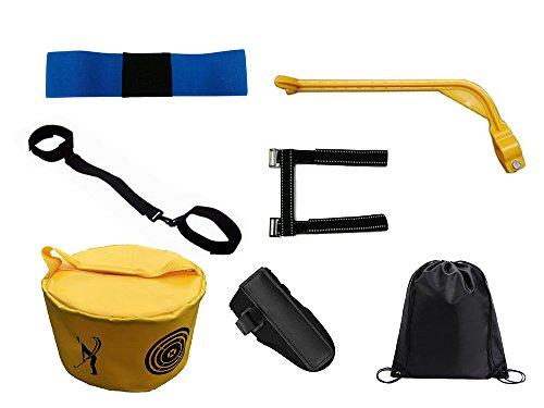 Posma TAS020 Golf Swing Trainer Posture Correctors Bundle Gift Set with Wrist Elbow Arm Leg Posture Corrector 5pcs set+Golf Hitting Bag Swing Impact Power Smash Bag+ black Cinch Sack-Golf Training Aid ()