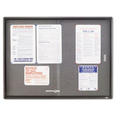 Quartet 2364S - Enclosed Bulletin Board, Fabric/Cork/Glass, 48 x 36, Gray, Aluminum Frame