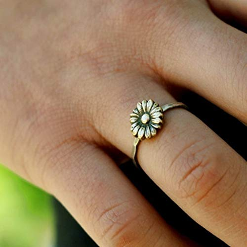 Naomi Antiqued Sunflower Rings Womens 925 Sterling Silver Flower Stack Sunflower Ring Floral Boho Rings Bride Wedding Gifts Multi-Color 7