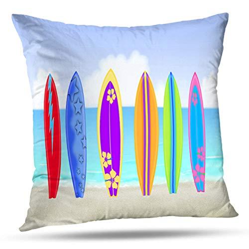 "Soopat Decorative Throw Pillow Cover Square Cushion 18""X18"" Surfboards Beach Pillowcase Home Decor Kitchen Garden Sofa from Soopat"