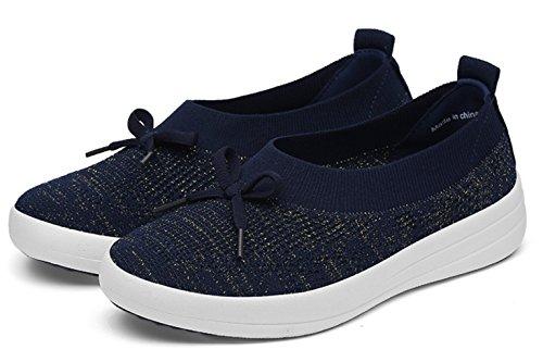 DADAWEN Women's Casual Loafer Flats Slip-On Trainers Lightweight Walking Shoes Blue U6WSg