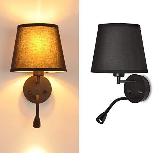 BarcelonaLED LED-wandlamp, E27, met Flexo, draaibaar, flexibel, 3 W, lampenkap van textiel, schakelaar voor slaapkamer…