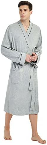 U2SKIIN Mens Cotton Robe Lightweight Knit Bathrobe (S/M, Grey)
