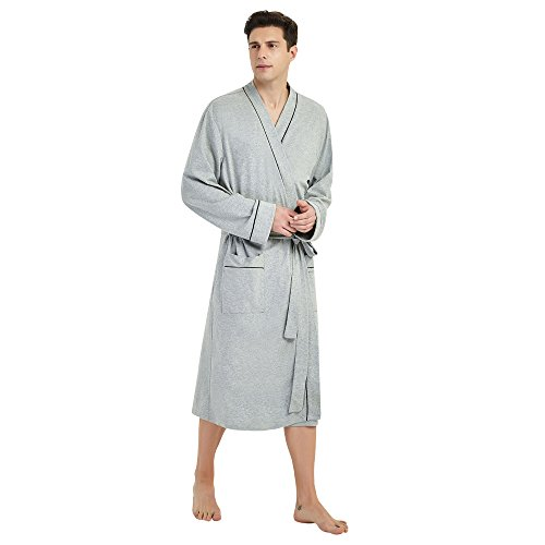 - U2SKIIN Mens Cotton Robe Lightweight Knit Bathrobe (2XL/3XL, Grey)