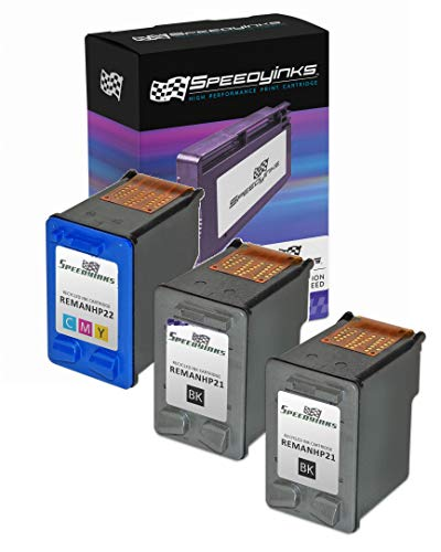(Speedy Inks Remanufactured Ink Cartridge Replacement for HP 21 and HP 22 (2 Black and 1 Color, 3-Pack))