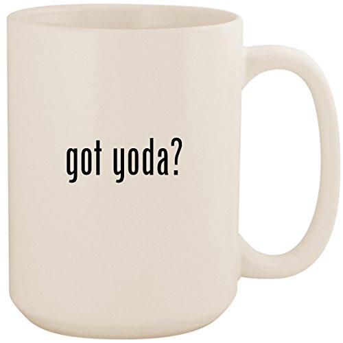 got yoda? - White 15oz Ceramic Coffee Mug Cup (Yoda Vs Darth Sidious Lightsaber)