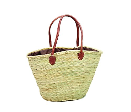 Morocco Natural Straw & Brown Leather Shopping Basket Tote Shoulder Bag Large Size (Tote Natural Leather)