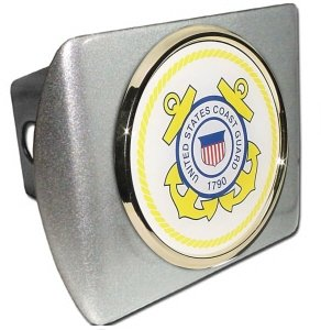 Brushed Chrome Coast Guard (US Coast Guard Brushed Metal Trailer Hitch Cover with Metal Logo)