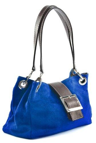 Donne Borsa in pelle camoscio piccola italiana con finiture finta - comprende una borsa di marca deposito protettivo e un fascino 28 x 18 x 11 cm (LxAxP) Blu (Kobaltblau - braun Trim)