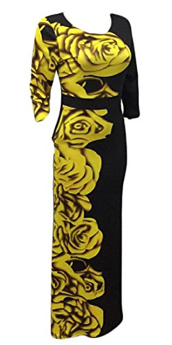 4 3 Neck Fashion Coolred Dresses Yellow Floral Print Scoop Sleeve Club Women O50cXXwqY
