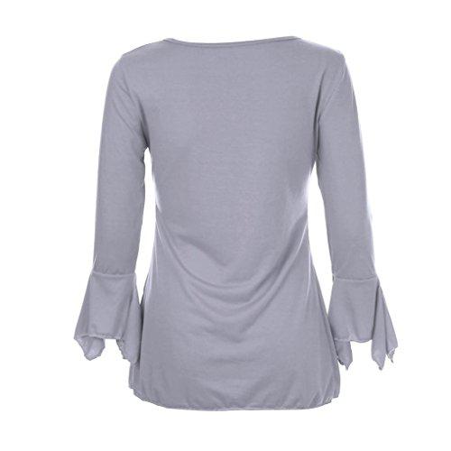 gris Mode Haut Tops S Shirt Manches Lache Tefamore Longues Casual T Blouse Femmes qOq6nS7Z