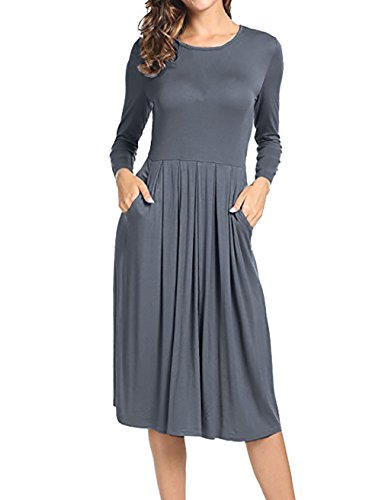Women's Pleated A-Line Dress Solid Color 3/4 Sleeves Shift Dress With Front Pockets