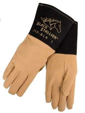 Revco Black Stallion 25D-BLK Premium Deerskin TIG Welding Gloves, Large by Revco