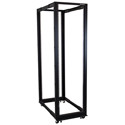 StarTech.com 42U Adjustable Depth Open Frame 4 Post Server Rack Cabinet - Flat Pack w/Casters, Levelers and Cable Management (Standard Rack Cabinet)