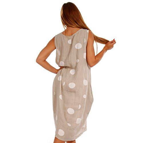 8948bbe3e5294b Made Italy Damen Leinenkleid in Tupfen-Design Strandkleid Sommer und  Freizeitkleid Beige BuiBQoS7xv ...