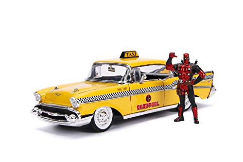 Taxi Diecast Car - Jada 1957 Chevrolet Bel Air Taxi Yellow with Deadpool Die-cast Figure Marvel Series 1/24 Die-cast Model Car 30290, Multicolor
