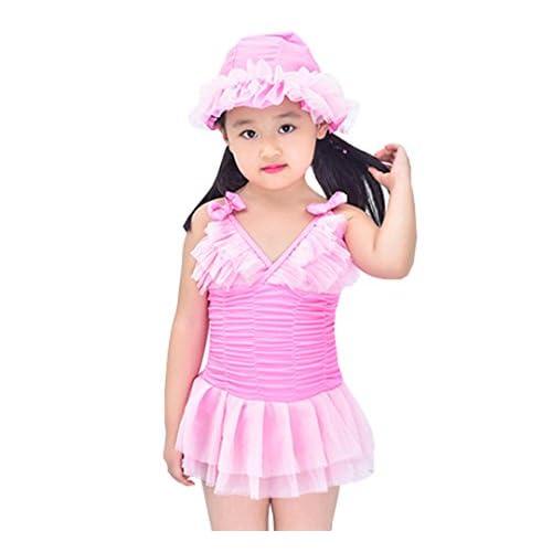 Taiycyxgan Baby Girls Princess Swimsuits Toddler Tulle Tutu Ruffle Beach Wear with Hat