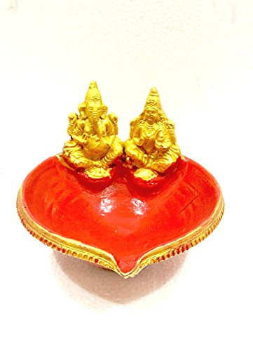 Itiha Lakshmi Ganesh Terracotta Diwali Diya/Oil lamp/Diya lamp/Diwali Diya/Clay Diya/Diya Oil lamp in Red and Gold (12 cm in Length 14 cm Height) by Itiha