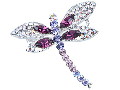 (Alilang Silvery Tone Iridescent Multi Rhinestones Colorful Dragonfly Brooch Pin)
