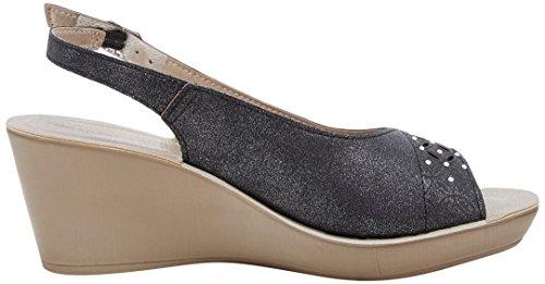 INBLU Women's Danza Ankle Strap Sandals, Sand Black (Nero 014)