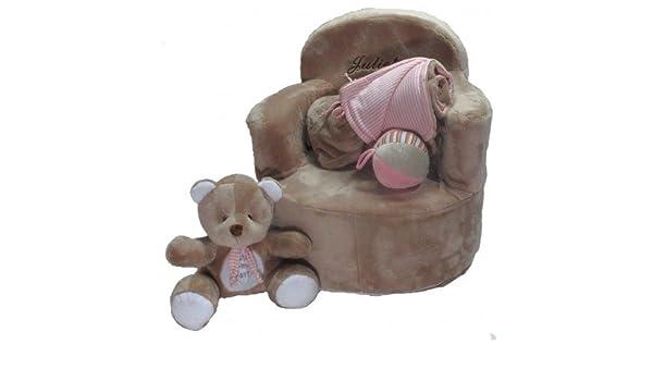 Set bebé personalizado (sillón + manta + osito + pelota) (Piedra): Amazon.es: Juguetes y juegos