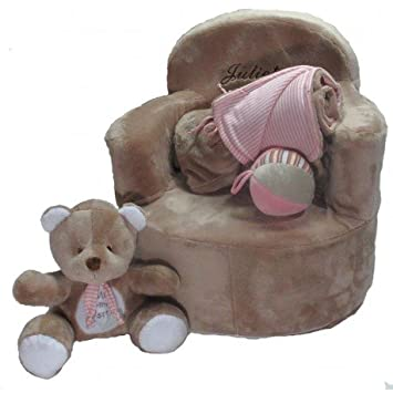 Set bebé personalizado (sillón + manta + osito + pelota) (Piedra)