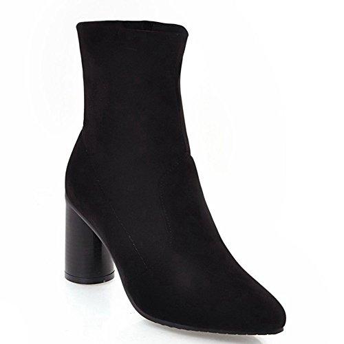 DecoStain Women's high heels high top Zipper Bootie Black ZsyjIM
