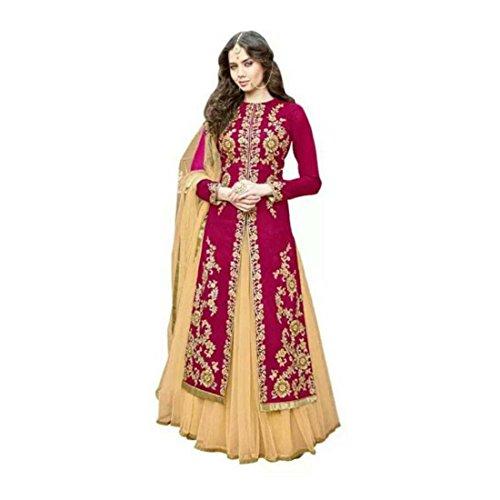 Self Design Semi Stitched Ghagra, Choli, Dupatta Set (Pink) ()