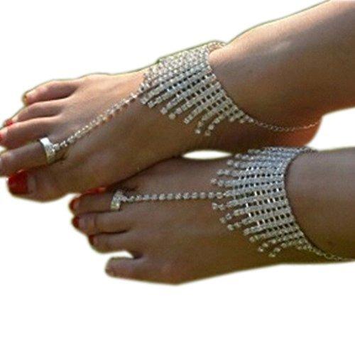 waygo Strand Hochzeit Fußkettchen Kette Strass Fuß Jewelry Barfuß Sandalen