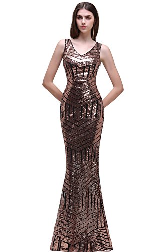 Cocktailkleider Abendkleider Spitze Damen Lang Gold Lang Babyonline Lang Meerjungfrau Ballkleider fq05UB