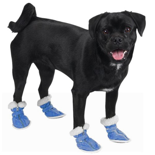 Dog Canine Boots Casual (X-SMALL - Casual Canine Cozy Dog Boots - BLUE)