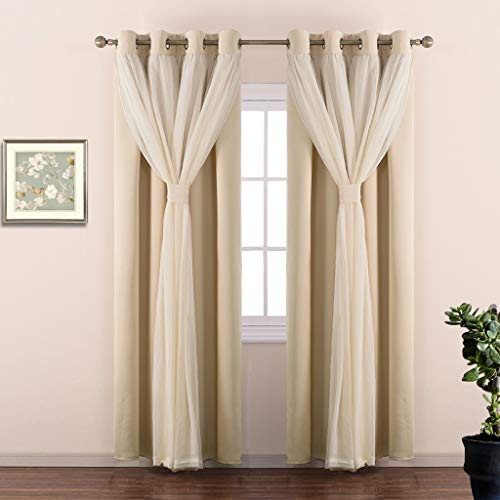 Double Layers Light Blocking Mix & Match Beige Crushed Voile and Blackout Curtains with 4 Bonus Tie-Backs for Bedroom Window, Cortinas para Sala (Set of 2, W52 x L63, Biscotti Beige)