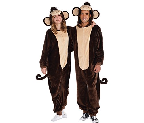 AMSCAN Zipster Monkey One Piece Pajama Halloween Costume for Adults with Attached Hood and Tail, Brown, Small/Medium ()