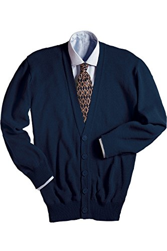 Edwards Garment Men's V-Neck Cardigan, Large Navy