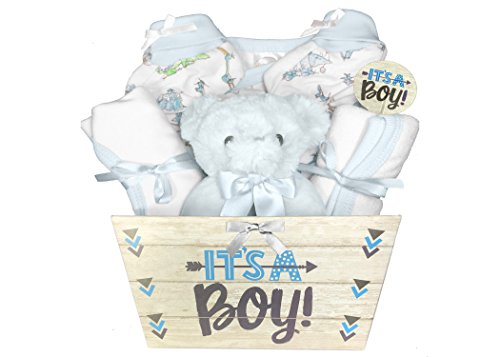 Baby Gift Basket for a Boy - 8 Piece Teddy Bear Baby Shower Gift Set (Cap Onesie Booties)