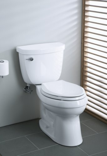 KOHLER K-3609-0 Cimarron Comfort Height Elongated 1.28 gpf Toilet with AquaPiston Technology,...