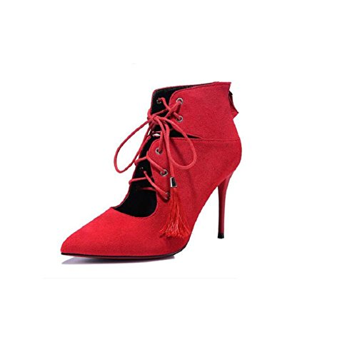 Lace Tassel Martin Shoes Boots British Style Stiletto Woman Wedding shoes In tube Ankle Boots RED-36 1azeC9rm2