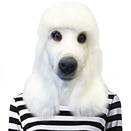 Off the Wall Toys Standard Poodle Mask Dog Halloween Costume Face Mask Kennel Club (White)