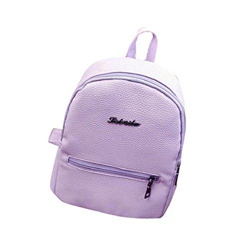 Creazrise Women Backpack,Girls Solid Color Leather Backpack Zipper Rucksack For Women (Purple)
